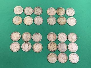 27 Canadian Silver Quarters Pre 1936