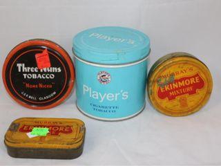 4 Tobacco Tins