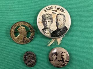 lot of 4 Vintage Royalty Pins Kings George V   VI