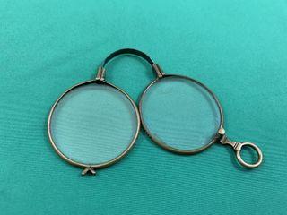 Antique Spring loaded Brass Folding Eyeglasses