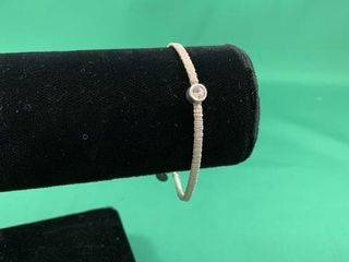 Sterling Silver Rhinestone Designer Bracelet