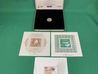 1999 Official Milennium Keepsake Coin   Stamp Set