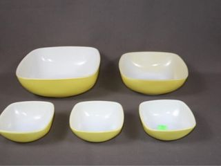 Set of 5 Pyrex Square Bowls