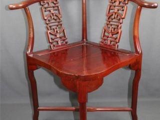 Oriental Mahogany Corner Chair