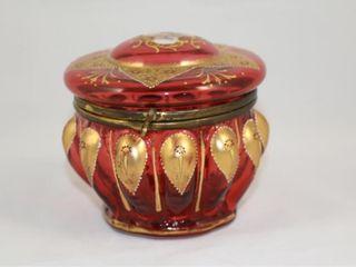 Cranberry Enameled Trinket Jar