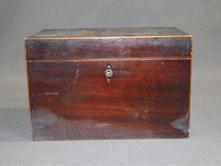 C1850 Mahogany Tea Caddy with String Inlay