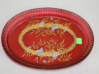 Cranberry Oval Enameled Flower Platter