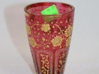 Cranberry Glass Enameled Design