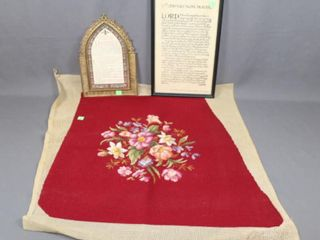 lot   Nuns Prayer and Needlepoint Piece
