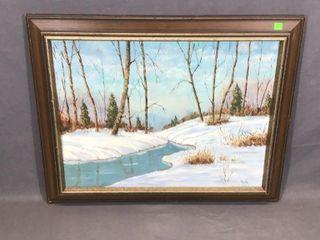 Winter Scene OilIJ Painting by Sheila