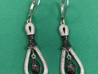 Pair of Sterling Silver Marcasite   Black Gem