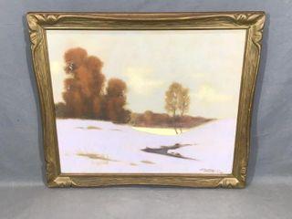 Winter Scene PastelIJ By H J Atygeren