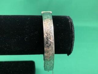 Vintage Birks Sterling Silver Chased Hinged Bangle