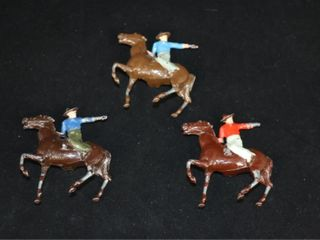 Vintage lot  3  lead Mounted Cowboys
