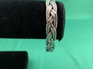 VIntage Heavy Sterling Silver Woven Cuff Bracelet