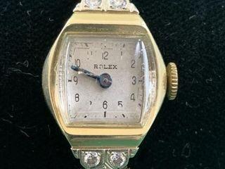 14K Rolex Wristwatch with Diamonds