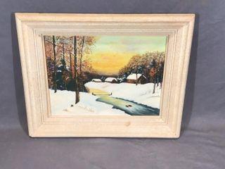 Cabin Winter Scene Picture Oil on Board