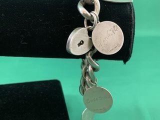 C1920 large Heavy Sterling Silver Charm Bracelet