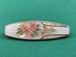 lovely Sterling Silver   Enamel Guilloche Bar Pin