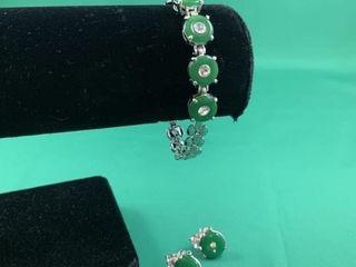 Jade and Rhinestone Bracelet   Earring Set