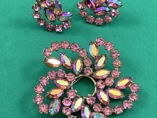 Set of Keyes Brooch   Earrings w Faceted Pink