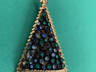 Vintage Christmas Tree Brooch w Various Stones