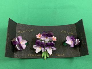 English Denton Fine China Violets Brooch