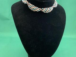 Turquoise and Rhinestone Elegant Costume Necklace