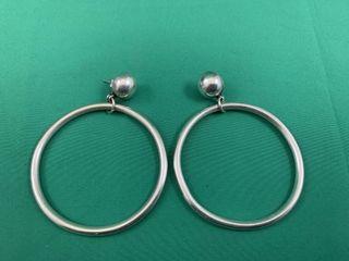 C1960 large Sterling Silver Hoop Earrings