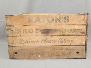 Vintage T Eaton Wooden Folding Box