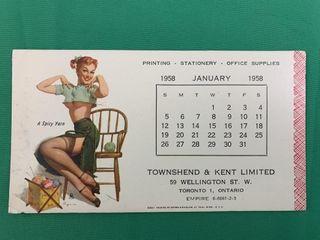 Vintage 1958 Pinup Girl January Calendar