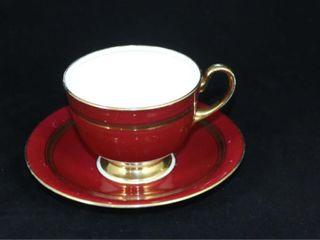 Aynsley Burgundy and Gilt Cup and Saucer