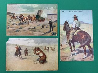 3 C1910 John Innes Old West Postcards