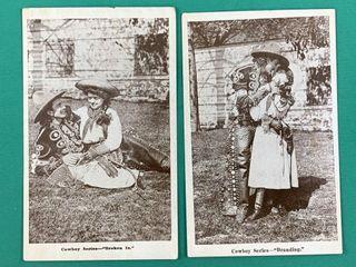 Pair of Cowboy Series Vintage Postcards Branding