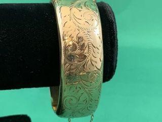 Vintage Gold Filled Wide Hinged Chased Bracelet