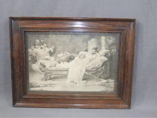 1895 Maude Goodman  Hush  Print in Oak Frame