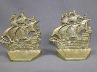 Vintage Cast Brass Sailing Ship Book Ends