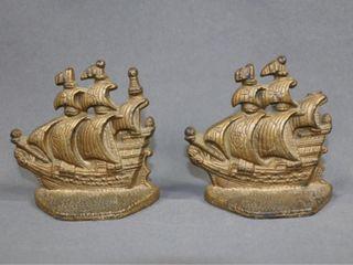 Vintage C1920s Cast Sailboat Bookends