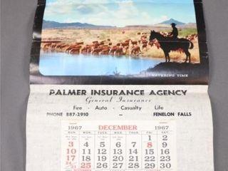 1967 Calendar PAlMER INSURANCE AGENCY FENElON