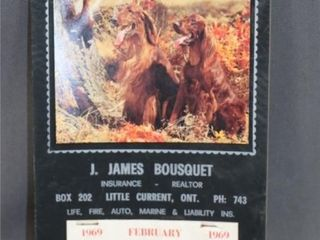 1969 Calendar JAMES BOUSQUET INSURANCE REAlTOR