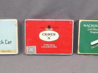 3 Vintage Advertising Cigarette Tins