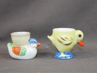 2 Vintage Figural Egg Cups