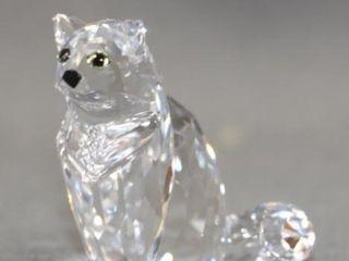 Cased Swarovski Cut Crystal Seated Cat Figure