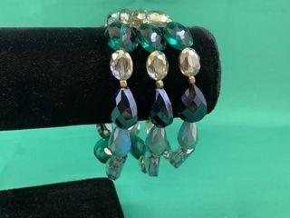 Stunning Faceted Beaded Three Strand Bracelet