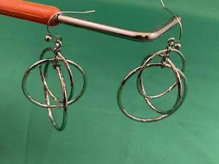 Pair of Tiered Modernist Sterling Silver Hoop