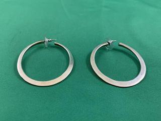 Pair of large Sterling Silver Hoop Earrings