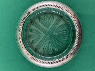 VIntage Sterling Silver Rimmed Glass Pin Holder