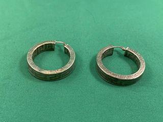 Pair of large Sterling Silver Greek Key Hoop