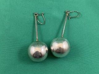 Pair of long Sterling Silver Ball Drop Earrings