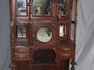 Ornate Walnut Display Cabinet Stand